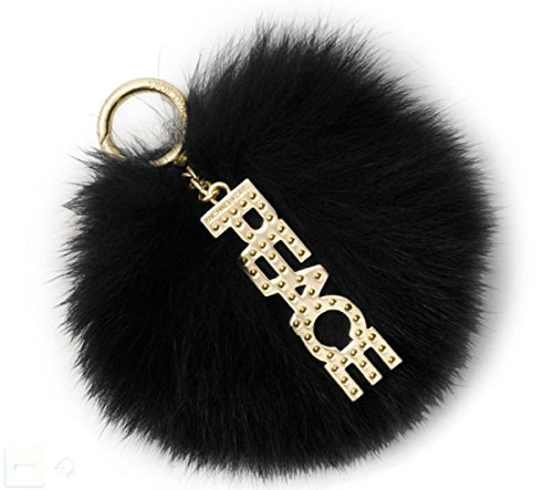 Michael Kors Black Fox Fur Peace Pom Pom Keychain Charm
