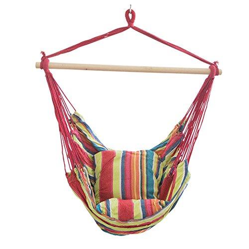 MINI Boutique Hamac suspendu à rayures - 2 coussins de siège inclus - Balancelle portable - Pour patio, extérieur, jardin