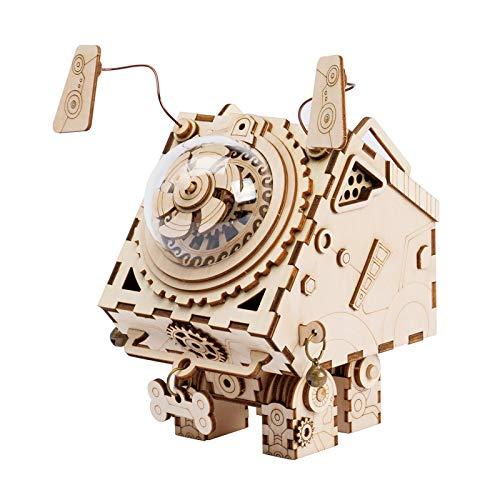 Robotime Lasergeschnittenes Holzpuzzle - Erwachsene Modell Kits-DIY Roboter Hund Musik Box-Holz Modellbau-Geburtstag Kinder und Erwachsene