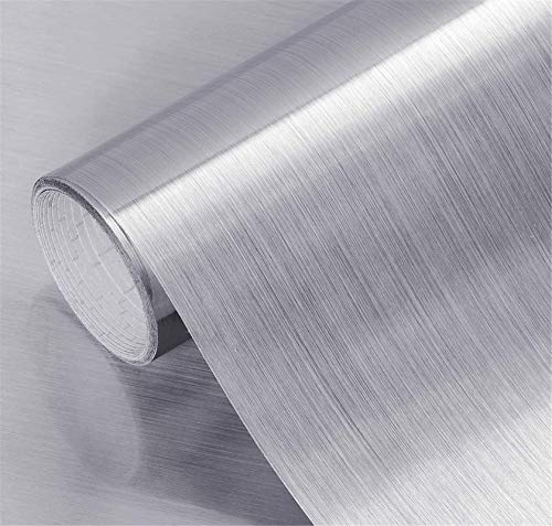 Yancorp - Cubiertas de papel de acero inoxidable de color plateado cepillado, extraíble para despegar y pegar en papel tapiz encimera, gabinete de cocina