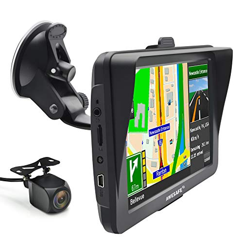 AWESAFE Bluetooth Sat Nav with Reverse Camera 7 inch 2021 Car GPS...