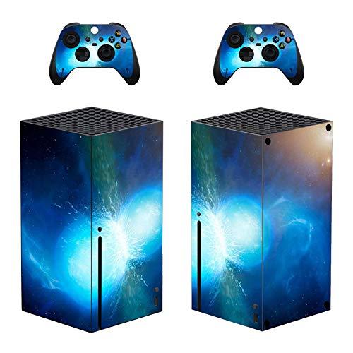Hihouse Calcomanías vinilo adhesivo para Xbox Series X luz eléctrica azul