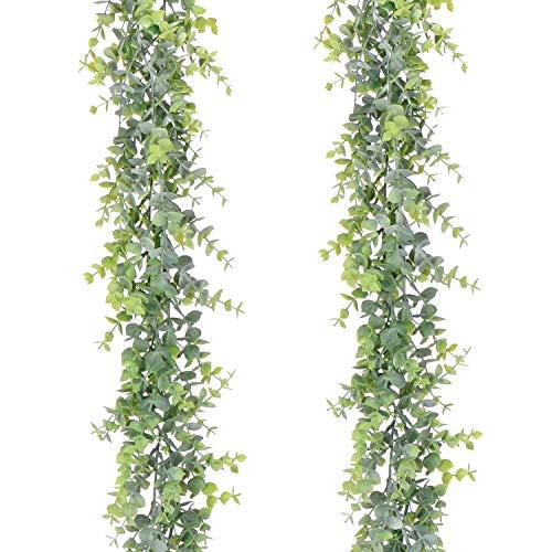 YQing 2 Piezas Eucalipto Artificial Guirnalda, Hojas de eucalipto Eucalyptus Guirnaldas Seda Hojas Vines Artificiales Planta Decoracion Boda Fondo Pared Decoración