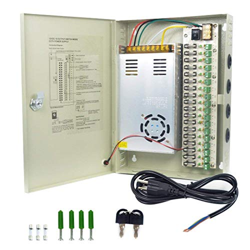 Ares Vision 18 Channel/Port 30 AMPS, 12V DC Power Supply Box, Individually Fused for CCTV, LED, and All 12v DC Devices.