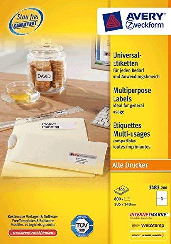 AVERY Zweckform Universal-Etiketten/3483-200 weiß Inhalt 800 Stck