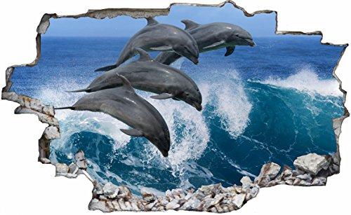 DesFoli Delfine Meer 3D Look Wandtattoo 70 x 115 cm Wanddurchbruch Wandbild Sticker Aufkleber C185
