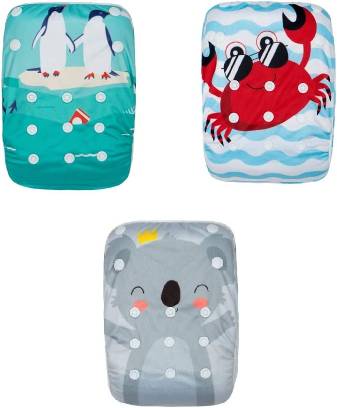 Kawaii Baby Swim Diapers Reuseable One Size Adjustable for Baby Shower Gifts & Swimming Lessons, Theme #4 - Pack of 3