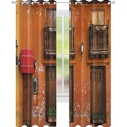 YUAZHOQI - Cortinas para sala de estar, calles de Cartagena con colores vibrantes, fachada, paisaje caribeño, Columbia Cortinas para niñas dormitorio de 132 x 241 cm, color naranja y marrón