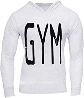 Mogogo Mens Long Sleeve Athletic Printed for Fitness Hoodie Sweatshirts
