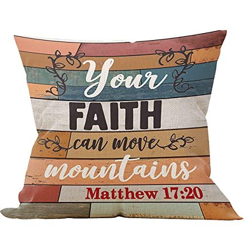 Hokdny Your Faith Can Move Mountains, federa per cuscino per divano e letto, decorazione cristiana, idea regalo per la chiesa, 40,5 x 45,8 cm, decorazione decorativa per divano letto Matteo 17:20