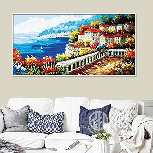 precio mas barato KYKDY 40X80cm Fotografías por número en lienzo lienzo lienzo Ciudad en el mar Pintura por números Pintura acrílica Coloración por números En lienzo Póster, 50x100cm sin marco, yangguangjiari  más descuento