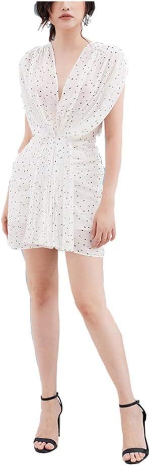 Dress Chiffon Skirt V-Neck Sleeveless Women's Wear Beautiful Temperament Slim Waist Printed Fashion Dress Summer (Color : White, Size : XS)