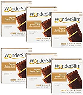 WonderSlim High Protein Snack Bar/Diet Bars - Peanut Butter Crisp (7ct) 6 Box Value-Pack (Save 10%) - Trans Fat Free, Aspartame Free, Kosher, Cholesterol Free