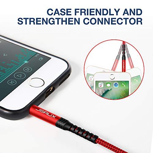 JSAUX Câble Jack Audio 3.5mm [1.2M/Lot de 2] Durable Câble Auxiliaire en Nylon Tressé spour iPhone,Samsung,Sony,LG,iPod,iPad,HiFi,Tablette,Casque,Autoradios,Smartphones,Portables,MP3 etc-Rouge