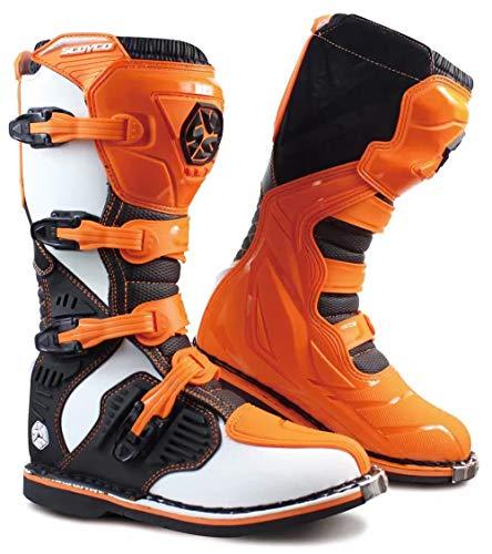 YZT QUEEN Botas de Moto, Hombre Armadura de Ciclismo de Carretera Botas de Cuero de Motocross Protección contra choques Botas con Punta de Metal Viajes Deportes al Aire Libre,Naranja,40.5EU/6UK