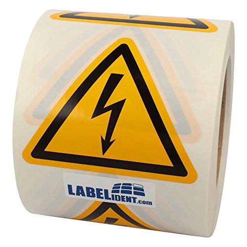 Labelident Warnaufkleber W012 - Warnung gefährliche elektrische Spannung - Seitenlänge: 100 mm - 500 selbstklebende Warnzeichen auf 1 Rolle(n), 3 Zoll, Vinyl Folie selbstklebend