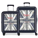 Pepe Jeans Ian Juego de maletas Azul 55/70 cms Rígida ABS Cierre TSA 119.5L 4 Ruedas Equipaje de Mano