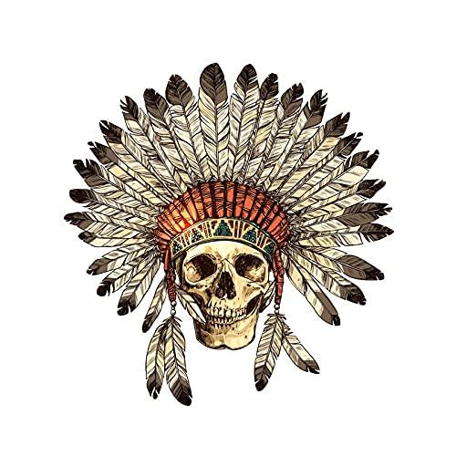 WBXZY YJZT14,7 CM * 14,9 CM Indiana cráneo Tocado calcomanía PVC Motocicleta Coche Pegatina 11-00687