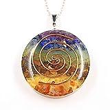 PSEEHEE Orgone Round Chakra Healing Crystals Pendant Necklace, 7 Chakra Stones Necklace for EMF Protection Spiritual Healing Jewelry Men Women (7 Chakra)