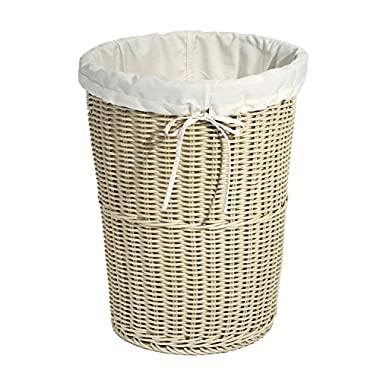 Seville Classics Large Round Wicker Weave Laundry Hamper/w Canvas Liner, Ivory