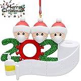 HUHUDAY Adorno de Familia Sobrevivido Adornos de árbol de Navidad 2020 Adornos de Adorno de Navidad, en cuarentena en casa Adorno de árbol de Navidad Personalizado de la Familia, Nochebuena (2PCS)