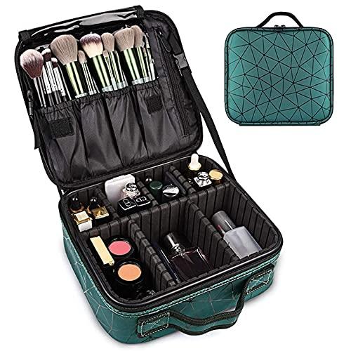 WLOWS Estuche de Maquillaje Estuche de Tren Celosía de Diamantes Organizador de cosméticos de Alta Capacidad Bolsa de Almacenamiento de Artista Impermeable portátil con divisores Ajustables,Verde