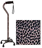 """NOVA Designer Quad Cane, Lightweight Four Legged Cane with Soft Grip Handle & Wrist Strap, Height (for Users 4'11"""" - 6'3"""") and Left or Right Adjustable, New Leopard Print Design"""