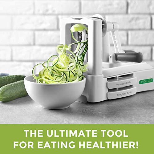 Product Image 4: Spiralizer Ultimate 10 Strongest-and-Heaviest Duty Vegetable Slicer Best Veggie Pasta Spaghetti Maker for Keto/Paleo/Gluten-Free, With Extra Blade Caddy & 4 Recipe Ebook White