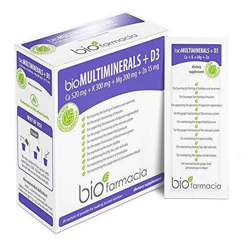 Calcium Magnesium Potassium Zinc and Vitamin D3 | Calcium Citrate 520mg | Magnesium Citrate 200mg | Potassium Citrate 300mg | Zinc Citrate 15mg | Premium Food Supplement – 28 sachets