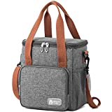 9L Insulated Lunch Bag Cooler Bag for Men and Women, Water-Resistant Leakproof Thermal Picnic Bag with Bottle Holder, Adjustable Shoulder Strap, Insulated Bento Bag for Office/School/Picnic (Grey)