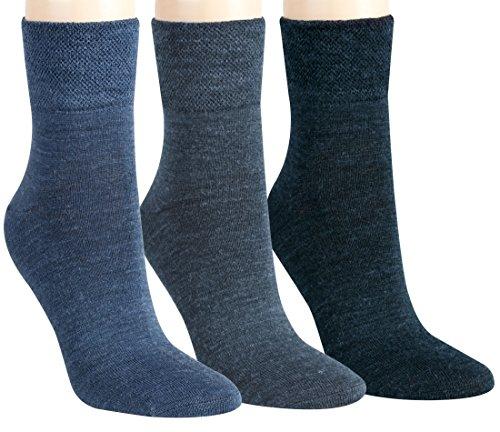 Vitasox 13356 Damen Socken feine Wollsocken Damensocken Wolle jeans uni einfarbig ohne Naht ohne Gummi 6er Pack,Jeans-töne, 39/42