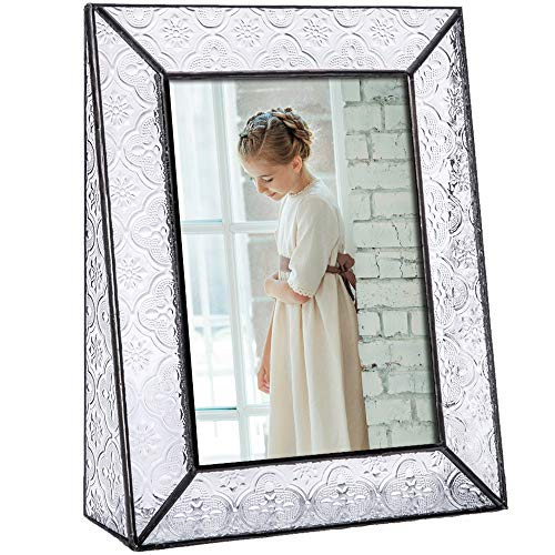 Clear Glass Picture Frame 5x7 Vertical Photo Display Desk or Tabletop Vintage Home D