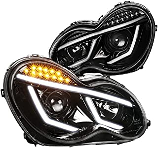 Jet Black Mercedes Benz W203 C-Class C230 C320 LED DRL Bar Projector Headlights