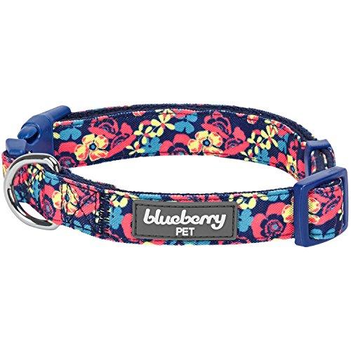 Blueberry Pet Collier de la Collection Made Well pour Marine avec imprimé Floral pour Les Chiens, Petit modèle, Taille M