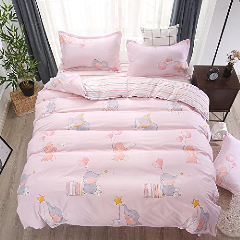 KFZ Bed Set (Twin Full Queen King Size) [4 Piece  Duvet Cover, Flat Sheet, 2 Pillow Cases] No Comforter by Fruit Pineapple Lemon Dream Design for Kids Adults (Dream Garden, Pink, King 86 x94 )