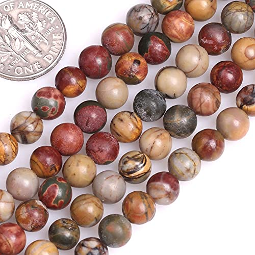 10mm Natural Picasso Jasper Beads Round Loose Gemstone Energy Healing Power Stones for Jewelry Making Strand 15 Inch (38-40pcs)