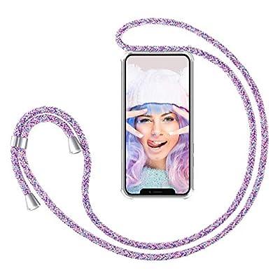 ZhinkArts Cadena para Teléfono Móvil Compatible con Apple iPhone X/XS - Funda con Collar de Cordón para Smartphone - Carcasa con Correa para Celular para Llevar - Unicornio