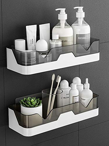 Adhesive Wall Mounted Bathroom Shelves,2 Pack of Shower Caddy Kitchen Organization,Floating Shelves for Organization and Storage,Plastic Trays and Holders of No Drilling.