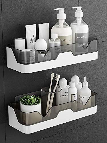 Estantes de baño adhesivos montados en la pared, estante de almacenamiento decorativo, soporte para baño y cocina, sin taladrar (juego de 2, gris oscuro)