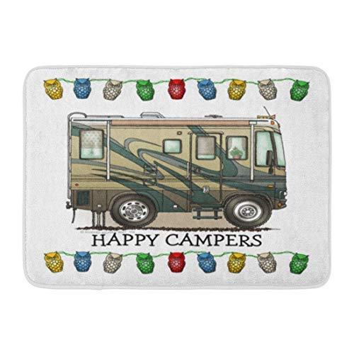 dingjiakemao Doormats Cute Happy Camper Big RV Motorhome Home Door Mats 23.6 x 15.7 Inches(40x60cm) Entrance Mat Floor Rug Indoor/Outdoor/Front Door/Bathroom Mats Rubber Non Slip