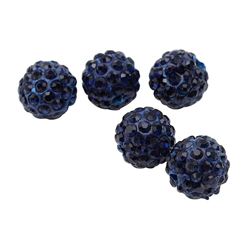 PH PandaHall About 100 Pcs 12mm Clay Pave Disco Ball Czech Crystal Rhinestone Shamballa Beads Charm Round Spacer Bead for Jewelry Making Deep Blue