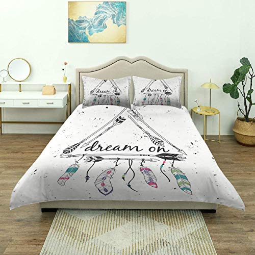 Nonun Duvet Cover,Tribal Ethnic Arrows Triangle Shape Dream On Hand Writing Feathers, Microfiber Bedding Set,Comfy Lightweight (3pcs Quilt Cover)