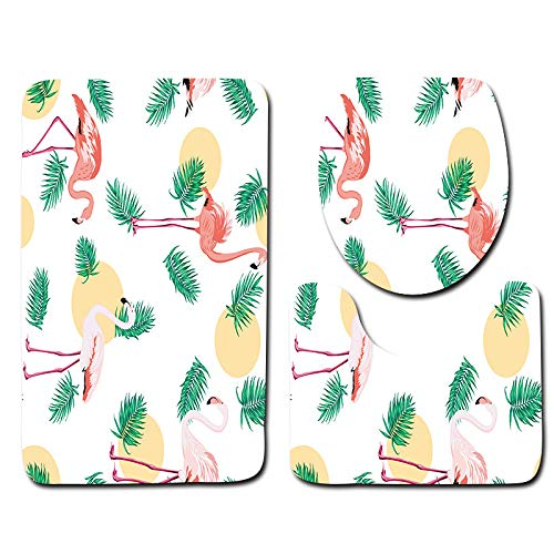 DREAMING-Animal Flamingo Bathroom Mat + Contour Mat + Toilet Cover Set Soft Anti-Slip Bathroom Carpet 3 Piece Set 50cm * 80cm