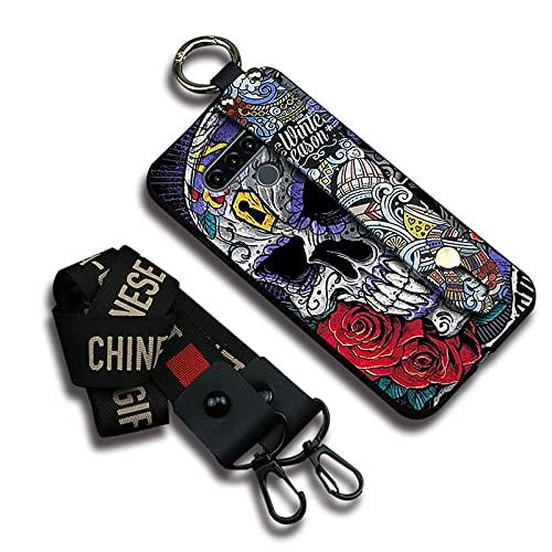 Funda Funcional para teléfono Lulumi Compatible con LG K71, cordón Original con diseño Des de Dibujos Animados a Prueba de Golpes Suave Pulsera para Mujer diseñadora, Calavera de Esqueleto púrpura
