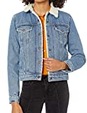 Levi's Women's Original Sherpa Trucker Jackets (Standard and Plus), Divided Blue, Medium