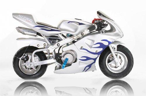 Pocket Bike PS77 49cc, Kinderbike, Rennbike, Dirtbike, Mnibike, Blau-Weiss Flamme
