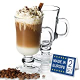 Irish Glass Coffee Mugs, Latte Cups, Set of 2 Cappuccino and Hot Chocolate Mugs with Handle, Clear Glass Mugs for Hot Beverages, 230ml, Irish Coffee Cups
