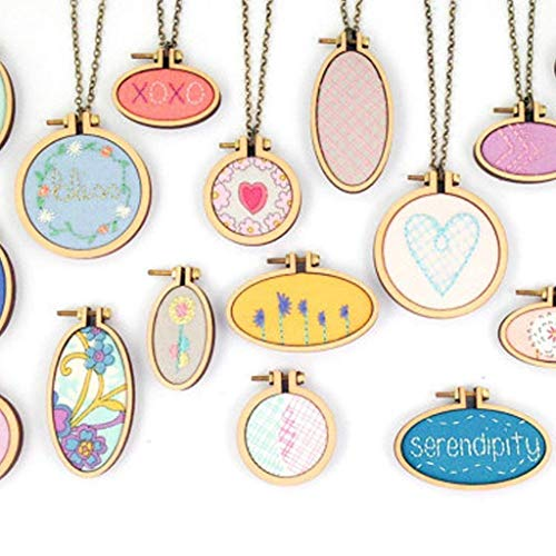 7 PCS Oval Round Mini Embroidery Frame Miniature Hoop Embroidery Cross Stitch Necklace Wood Pendant Cross Stitching Needlework DIY Embroidery Blanks