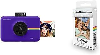Polaroid SNAP Touch - Cámara digital con impresión instantánea y pantalla LCD (purpura) con tecnología Zero Zink + Polaroid M230 - Pack de 50 papeles fotográficos color blanco