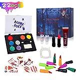 Auney Kit de Pintura Facial para niños, Halloween Maquillaje, Pinturas Grandes a Base de Agua, 8 Colores, Paleta de Pintura Facial Profesional, Kit de Maquillaje Familiar